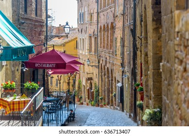 VOLTERRA, ITALY - APRIL 23, 2017 - View of a street of the small and famous town of Volterra, Italy.