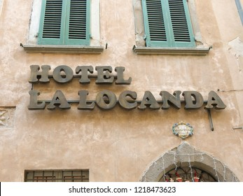 VOLTERRA, ITALY - CIRCA DECEMBER 2014: Hotel La Locanda (meaning rooms to let) facade and sign