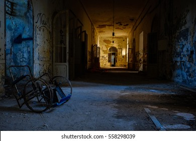 Volterra, Italy - December 2016: Abandoned psychiatric hospital. It was home to more than 6,000 mental patients but was shut down in 1978 because its practices were deemed cruel. Volterra, 2016