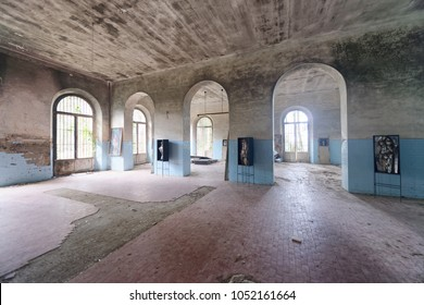 VOLTERRA, ITALY - FEBRUARY 24, 2018: Interior of abandoned asylum. It closed in 1984.