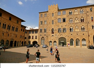 Volterra, Italy - July 12, 2018: The heart of the medieval town is Piazza dei Priori is the main tourist attraction in Volterra, Tuscany, Italy