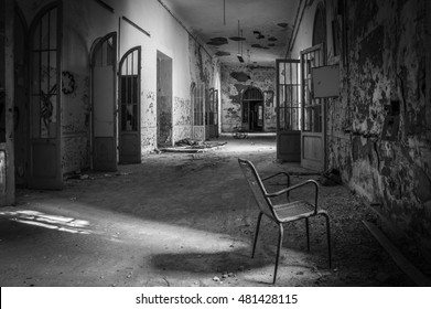 Volterra, Italy - September 2016: Abandoned psychiatric hospital. It was home to more than 6,000 mental patients but was shut down in 1978 because its practices were deemed cruel. Volterra, 2016