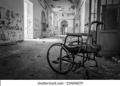 Volterra, Italy - September 2016: Abandoned psychiatric hospital in Volterra. It was home to more than 6K mental patients but was shut down in 1978 because its practices were deemed cruel. Italy, 2016