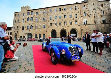 VOLTERRA (PI), ITALY - SEPTEMBER 19: A blue Healey Silverstone takes part in the GP Nuvolari classic car race on September 19, 2015 in Volterra (PI). The car was built in 1949.