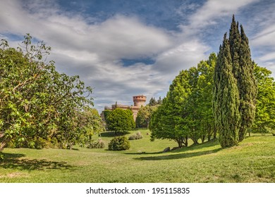 Volterra, Pisa, Tuscany, Italy: landscape of park with medieval castle in the old town