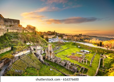 Volterra, roman theatre ruins at sunset. 1st century bce, Tuscany, Italy, Europe.