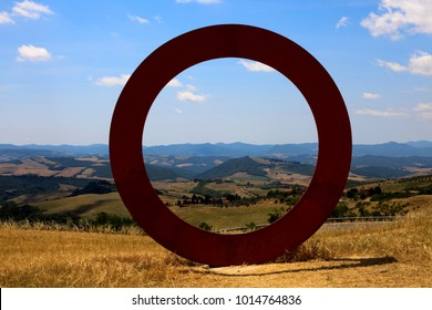 Volterra (SI), Italy - April 25, 2017: The Ring, sculpture by Mauro Staccioli, Volterra, Tuscany, Italy