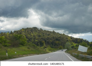 Volterra, Tuscany, Italy, April 2019. Tuscan Landscape of the typical hills and nature during a cloudy day. - Shutterstock ID 1401485171