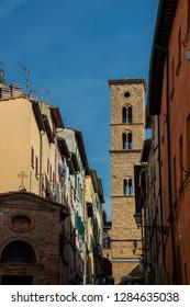 Volterra, Tuscany, Italy - July, 2017: Charming narrow streets of Volterra town in Tuscany, Italy