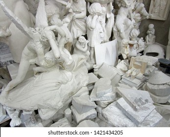 Volterra, Tuscany, Italy, May 23, 2019. Abandoned alabaster statues in an alabaster carving workshop, adjacent to Porta Marcoli. Volterra, Tuscany, Italy, May 23, 2019