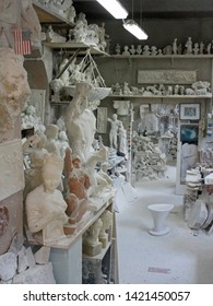 Volterra, Tuscany, Italy, May 23, 2019.  Interior. Alabaster carving studio / workshop. Adjacent to Porta Marcoli. Volterra, Tuscany, Italy, May 23, 2019