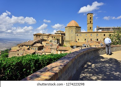 Volterra, Tuscany, Italy - September 14, 2018: General View of Volterra Old Town at Day