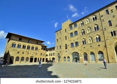Volterra, Tuscany, Italy - September 14, 2018: Volterra Old Town Square at Day