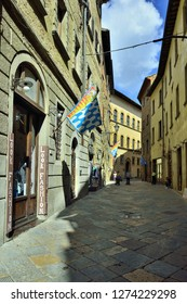 Volterra, Tuscany, Italy - September 14, 2018: Volterra Old Town Alley at Day