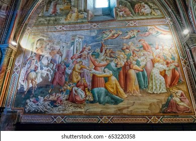 VOLTERRA, TUSCANY - MAY 21, 2017 - Church of Saint Francis, Chapel of the Cross decorated in 1410 by Cenni of ser Cenni from Florence with the cycle of frescoes