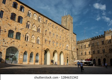 VOLTERRA,ITALY - JULY,2017 - Buildings at the Priori Place of Volterra. History of Volterra dates from before the 7th century BC