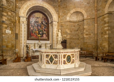 VOLTERRA,ITALY - SEPTEMBER 17,2018 - Interior Baptistery of San Giovanni Battista in Volterra. History of Volterra dates from before the 7th century BC.