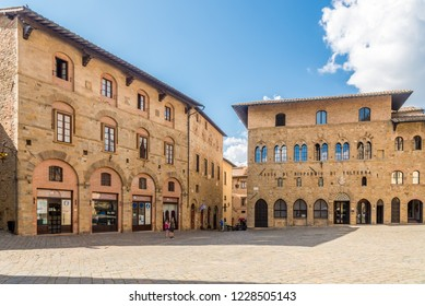 VOLTERRA,ITALY - SEPTEMBER 20,2018 - Buildings at the Priori Place of Volterra. History of Volterra dates from before the 7th century BC.