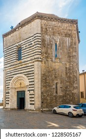 VOLTERRA,ITALY - SEPTEMBER 20,2018 - View at the Baptistery of San Giovanni Battista in Volterra. History of Volterra dates from before the 7th century BC.