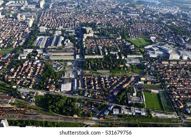 Voltino district in Zagreb, Croatia. Aerial view.