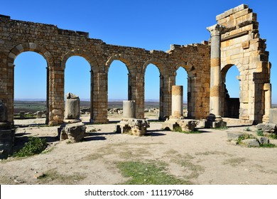 VOLUBILIS, MOROCCO - 29 NOVEMBER 2015: Extensive complex of ruins of the Roman city Volubilis - of ancient capital city of Mauritania in the central part of Morocco by the Meknes city