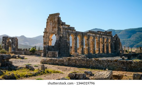 VOLUBILIS, MOROCCO - SEPTEMBER 16, 2018: Extensive complex of ruins of the Roman city Volubilis - of ancient capital city of Mauritania in the central part of Morocco by the Meknes city