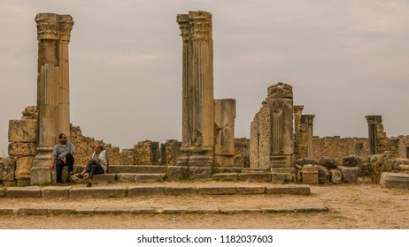 VOLUBILIS, MOROCCO - SEPTEMBER 26, 2015: Extensive complex of ruins of the Roman city Volubilis  of ancient capital city of Mauritania in the central part of Morocco by the Meknes city