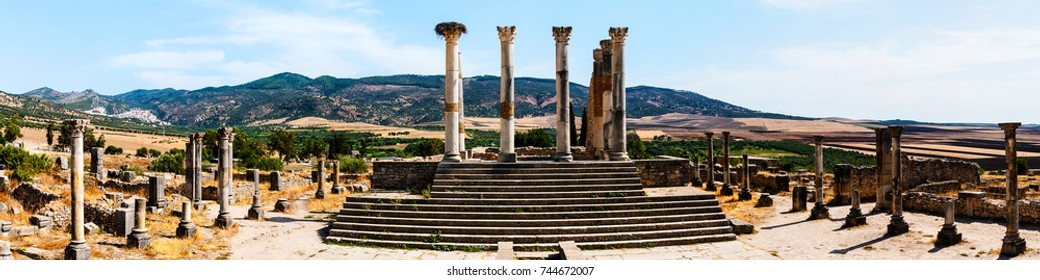 Volubilis, Morocco - touristic attraction and a Roman archaeological site situated near Meknes. Volubilis, Morocco is a UNESCO World Heritage and is a well preserved colonial town of the Roman Empire