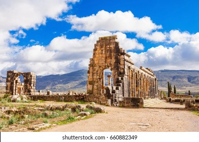 Volubilis near Meknes in Morocco. Volubilis is a ruined Amazigh, then Roman city in Morocco near Meknes, UNESCO World Heritage Site.