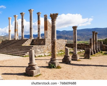 Volubilis near Meknes in Morocco. Volubilis is a ruined Amazigh then Roman city in Morocco near Meknes, UNESCO World Heritage Site.