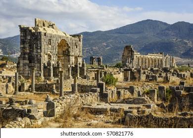 Volubilis - partly excavated Roman city, Meknes, Morocco