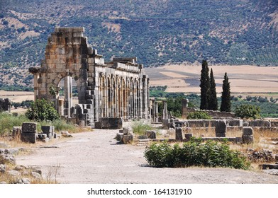 Volubilis - the popular touristic attraction and a Roman archaeological site situated near Meknes in Morocco. It was listed a UNESCO World Heritage and is a well preserved colonial town of the Empire.