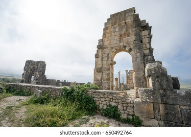 Volubilis ruins, the excavations of the roman city in the archaeological site Volubilis, North Morocco.