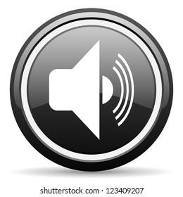 volume black glossy icon on white background