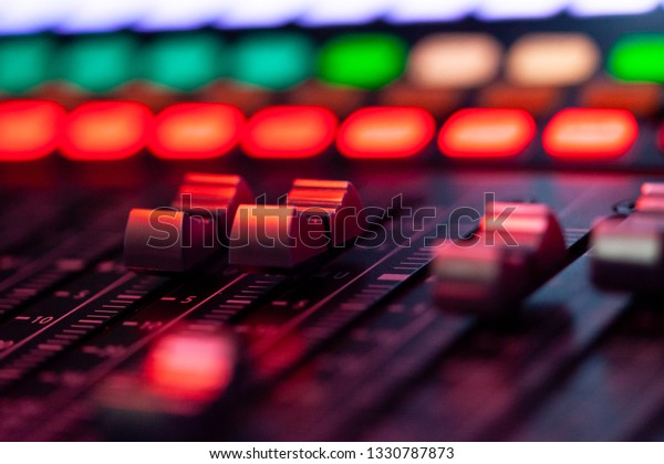 Volume Control Soundboard Red Light Stock Photo (Edit Now