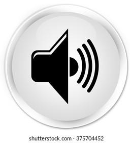 Volume icon white glossy round button