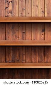 Volume wooden shelf
