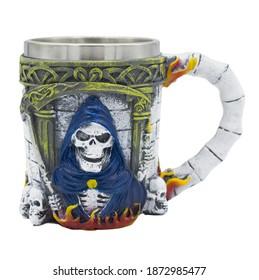 Volumetric beer mug depicting skulls and death with a scythe.