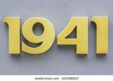 Volumetric metal numbers 1941 on a gray background. 1941 the date of the beginning of the Great Patriotic War.
