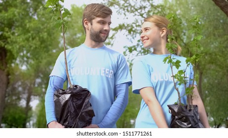 Volunteer couple holding tree sapling and looking at each other, togetherness