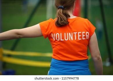 Volunteer girl back view