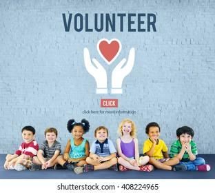 Volunteer Helping Hands Heart Icon Concept.