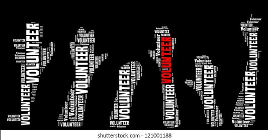 Volunteer info-text graphics and arrangement concept on black background (word cloud)