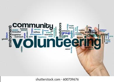 Volunteering word cloud concept on grey background