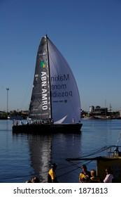 Volvo ocean race 2006. Start of leg 3. ABN AMRO yacht departure (Docklands, Melbourne, Australia).