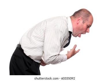 Vomiting businessman on white background.