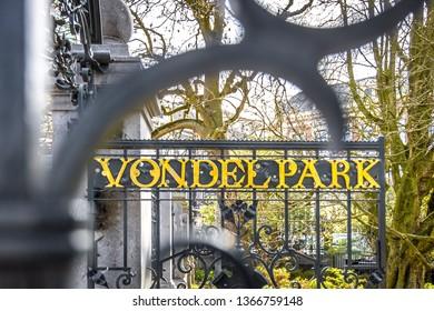 Vondelpark entrance in Amsterdam, Netherlands