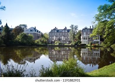 Vondelpark with reflections, Amsterdam, Holland, Vondelpark