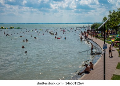 Vonyarcvashegy, BALATON, HUNGARY - July 27, 2019: people swimming in blue lake Balaton summertime