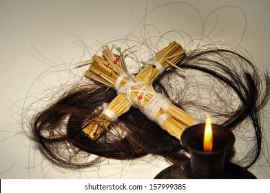 A Voodoo doll and long hair , Halloween